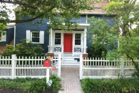 Taylor Painting & Carpentry painted this house blue, with white trim and a red door. Taylor Painting & Carpentry is a full serviced and licenced painting company that services the Wayne PA, West Chester PA, Radnor PA, Bryn Mawr PA, and Wynnewood PA areas.